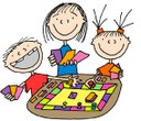 clipart of babysitter with kids