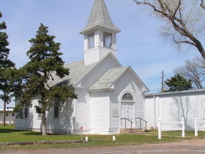 Historic Church located in Midway Park next to Sod House Museum