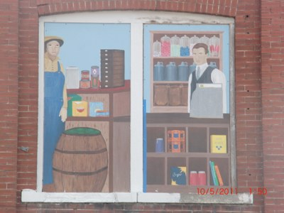Mural on downtown upper story windows